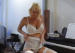 Busty blonde milf in sexy lace lingerie fingers
