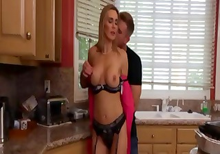 Hot, busty blonde mom Tanya eats cock and gets