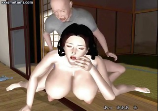Animated 3D brunette MILF with huge tits gets
