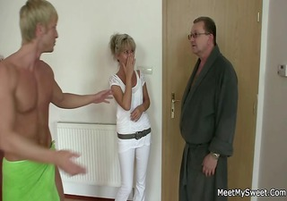 His old mom and dad tricks her into sex