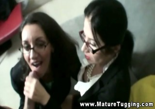 spex matures tug his hard dick together
